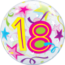 "18 Birthday Stars Bubble Balloon (22"") 1pc"